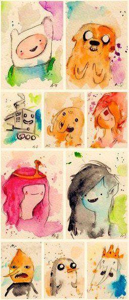 Watercolor Finn, Jake, Neptr, Tree Trunks, Flame Princess, Princess Bubblegum, Marceline, Earl of Lemongrab, Gunter and Simon Petrikov.