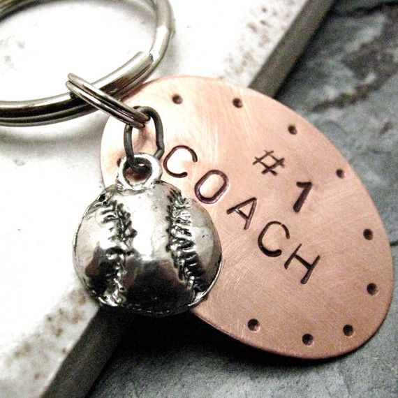 Number 1 Coach BASEBALL Key Chain Men or Women Alt charms available