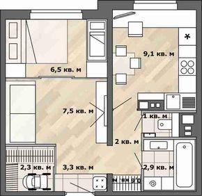 Фотография: в стиле , Малогабаритная квартира, Перепланировка, перепланировка однушки, Анастасия Киселева, планировка одномнатной квартиры в доме серии П-3М – фото на InMyRoom.ru