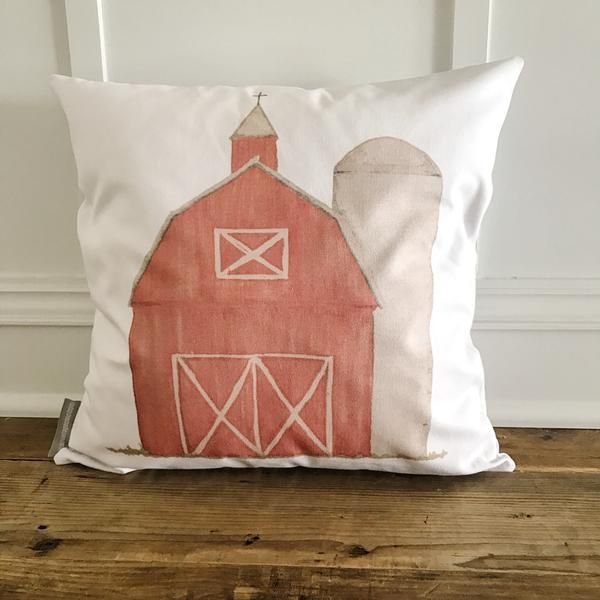 Watercolor Barn Pillow Cover (Red)