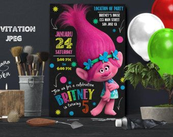 Trolls invitation trolls movie invitation invitation