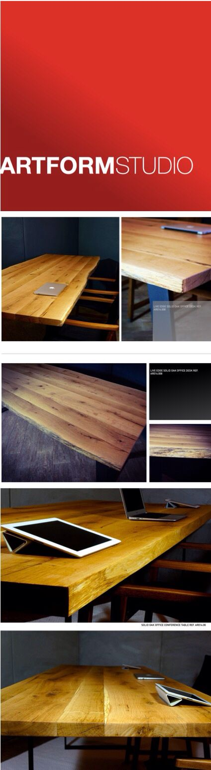 Artform Studio Collection of contemporary solid oak tables and desks, made from salvaged trees.