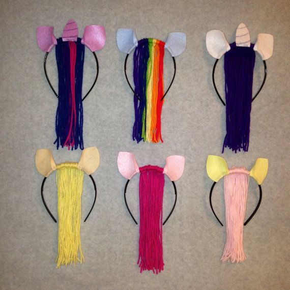 You will receive 1 horse ears with colorful mane headbands. Please mention the colors for the ears and mane or the name of the pony desired. If you