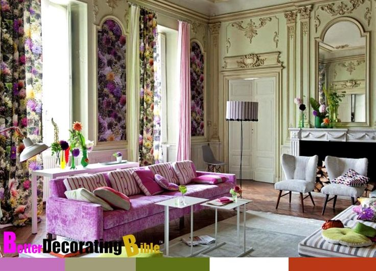 Spring Decoration Ideas With Purple Sofa And Flowers Print Curtain