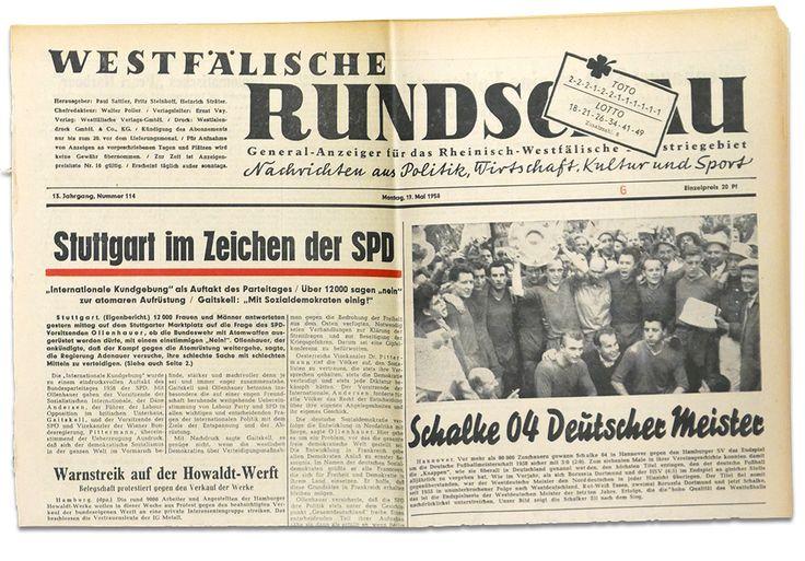 18.05.1958 Westfälische Rundschau - Schalke 04 wird deutscher Meister. Diese und über 2 Millionen original Zeitungen findet Ihr in unserem Archiv www.geschenkzeitung.de