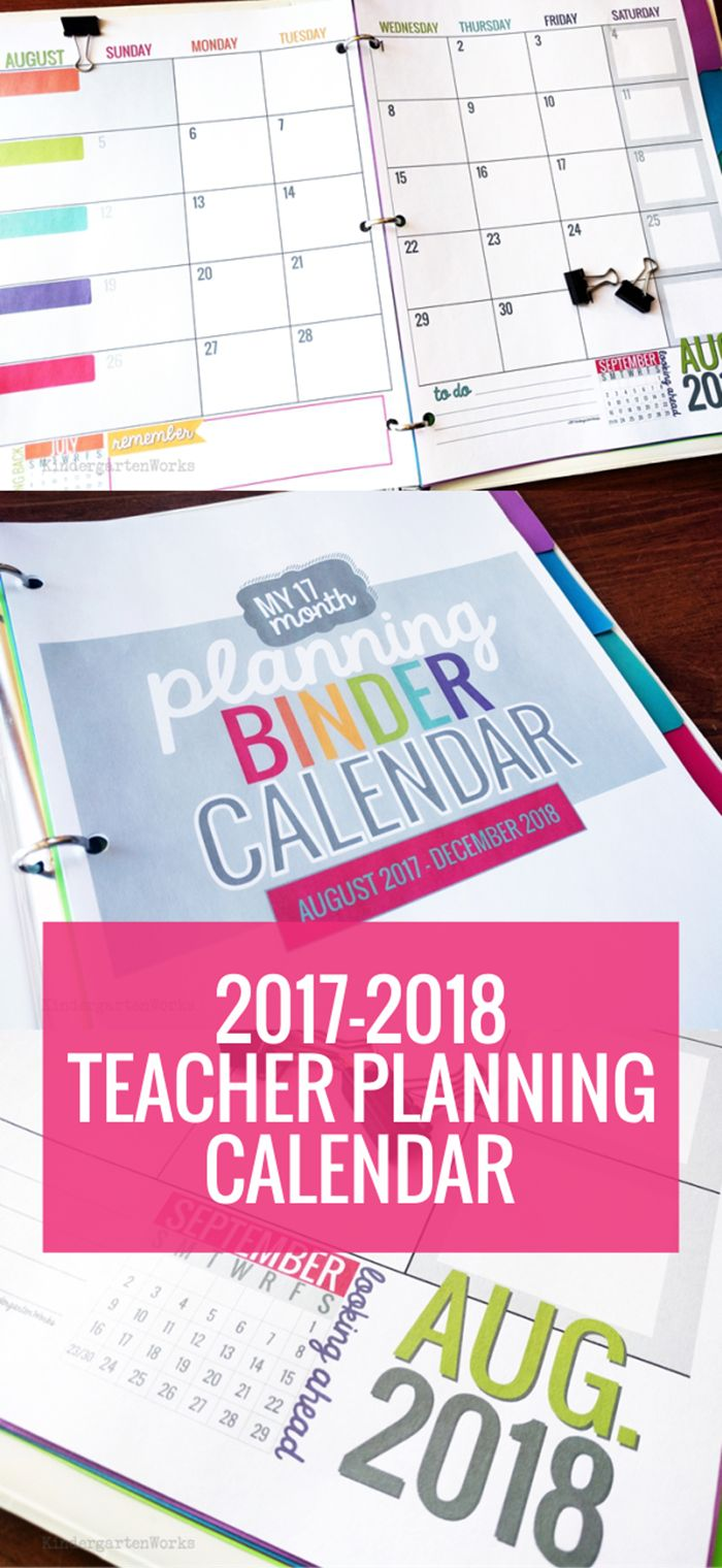 I LOVE this Teacher Planning Calendar Template 2017-2018 School Year