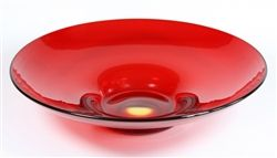 """Whitefriars Glass Lotus Bowl in Red Designed in 1935 by Barnaby Powell, pattern number 9022, this is in a beautiful ruby red and is in superb condition. There is one slight inclusion beneath, hardly noticeable, characteristic of the hand made nature of this item. It measures 280 mm / 11"""" across by 70 mm / 2.75"""" tall."""