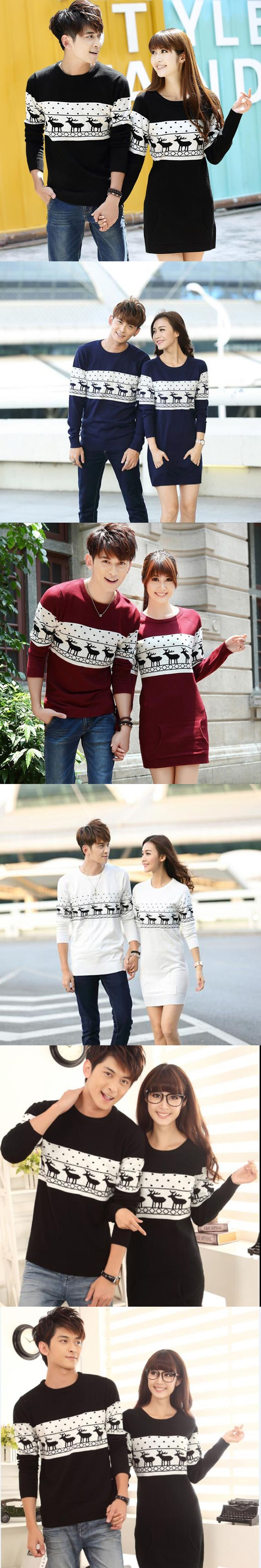2017 Hot Sale Christmas Sweater For Men And Women Couples Matching Christmas Sweaters For Lovers Couple Christmas Deer Sweaters