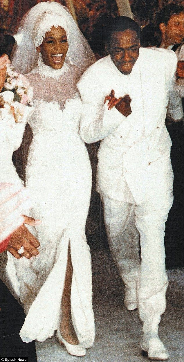 Whitney Houston wedding dress and Bobbi Brown - tying to knot on July 18, 1992.