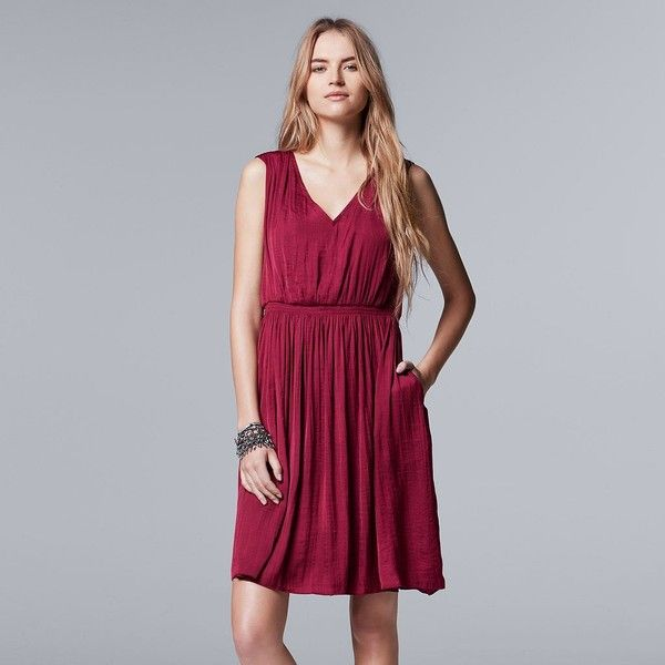 Women's Simply Vera Vera Wang V-Neck Smocked Dress ($40) ❤ liked on Polyvore featuring dresses, red, pocket dress, lining dress, sleeveless dress, red v neck dress and fit and flare dress