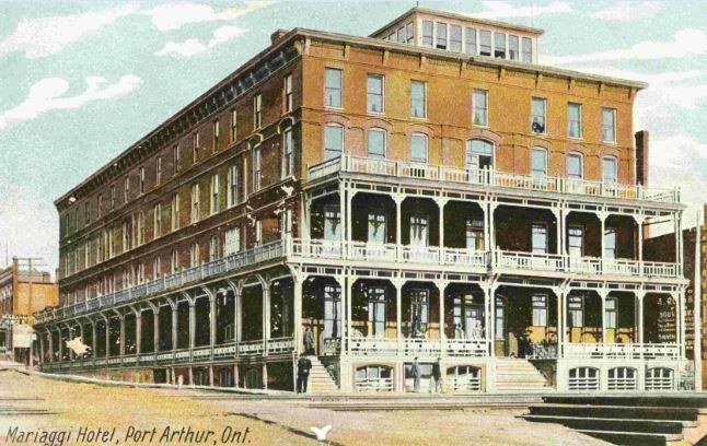 https://flic.kr/p/qDKB8n | Mariaggi Hotel | Description: After the Post Office approved the mailing of illustrated postcards in 1897, many hand-coloured images of the city were produced, purchased, and mailed to friends and loved ones. This particular postcard depicts Port Arthur's Northern Hotel, later known as the Mariaggi (and most recently as the Marina Inn). The hotel was built in 1885. At the time, it was the city's premier hotel, surpassed only when the Prince Arthur Hotel was built…