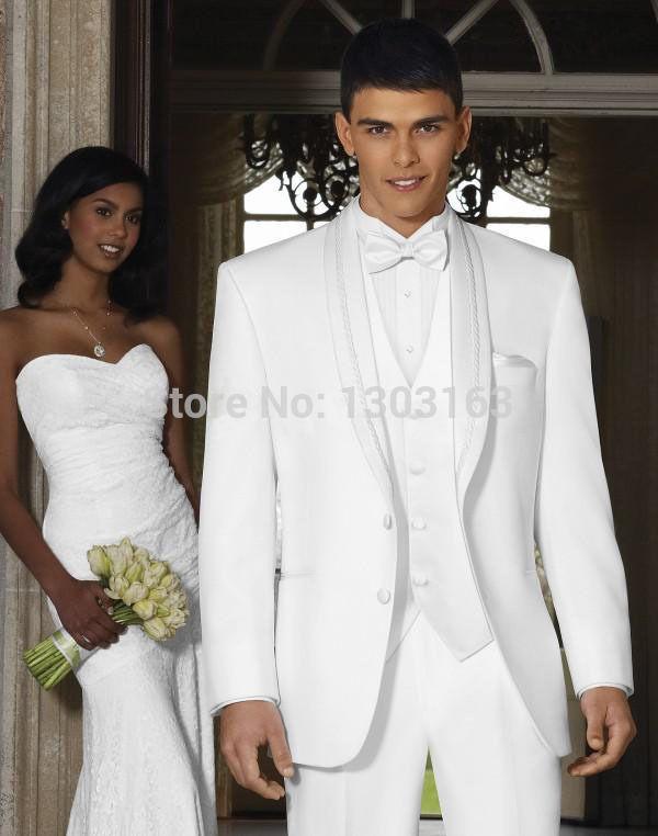 2015New дизайн белый платок жених смокинги жениха лучшие мужской костюм мужские свадебные костюмы жених костюм ( куртка + брюки + жилет + галстук )