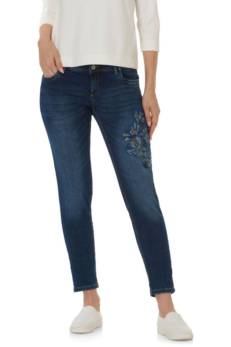 enkellange 5-pocket jeans met borduursels | Lou