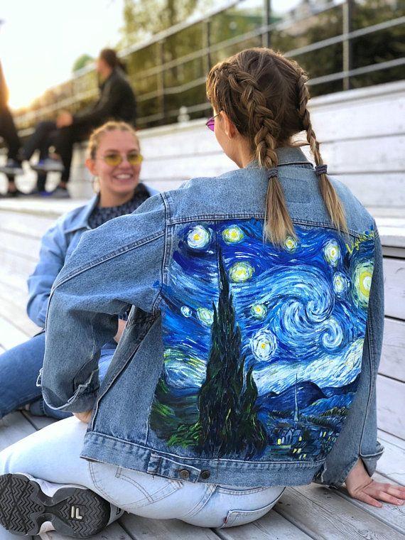 Hand painted denim jacket Van Gogh Starry Night read the