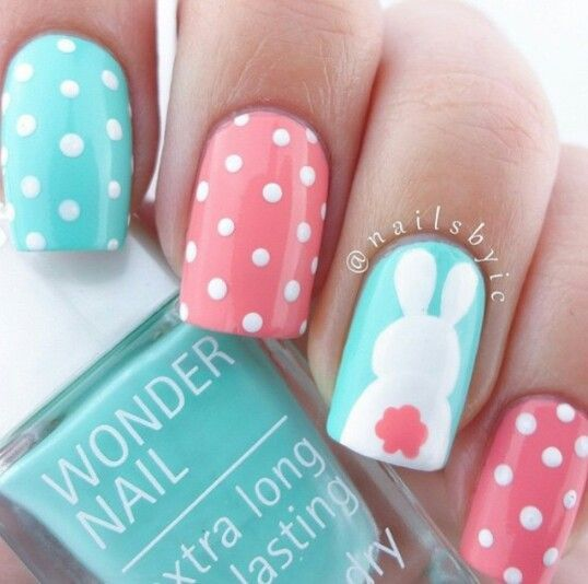 Polka dots + Bunnies | Easy Easter Nail Designs for Short Nails