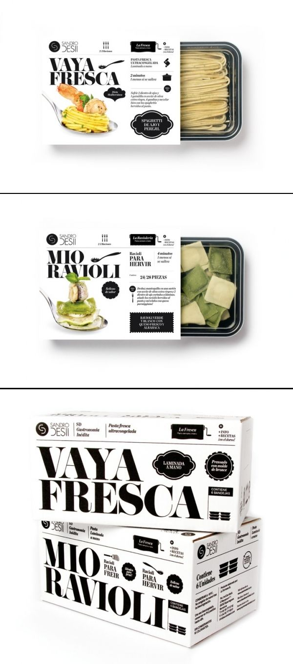 It reads magazine/website design for me, but I want to sit with this for a while.  Sandro Desii | Fresh pasta. #packagedesign #packaging #designinspiration