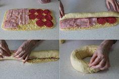 Corona rellena de 4 quesos, salami y jamón cocido