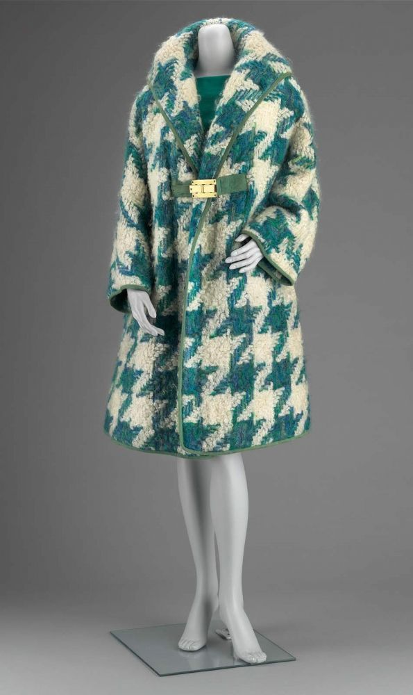 Bonnie Cashin Coat and Dress Ensemble - American 1960s. Wool and mohair houndstooth;  wool knit; leather