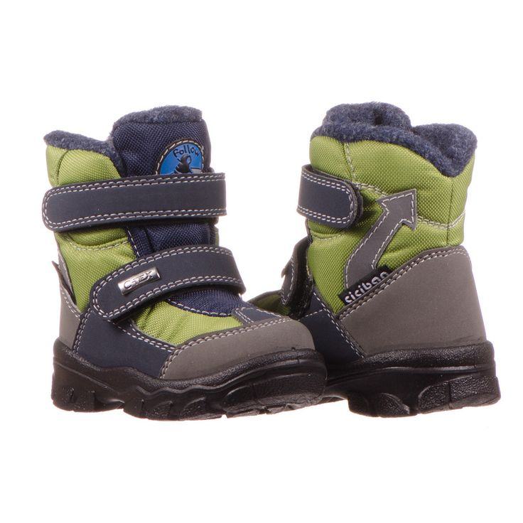 Fun toddler boy's green and navy waterproof snow boot.  http://www.ciciban.ca/products/snow-green-33-preorder #ciciban #toddler #snow #green #waterproof #breathable