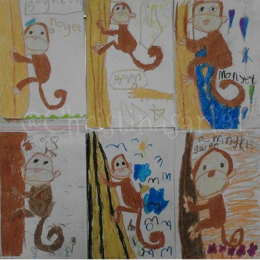 Monkey oil pastel