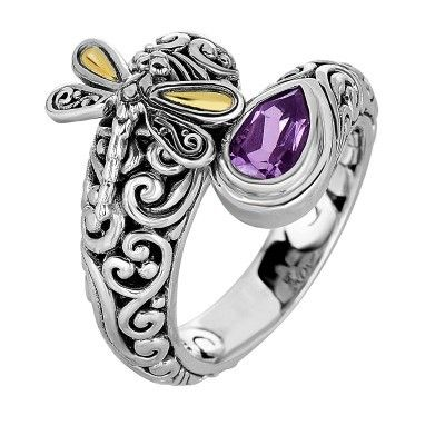 18kt yellow gold and silver with oxidized finish shiny 18-4.2mm amethyst bypass type graduated dragonfly fancy ring from Phillip Gavriel Dragonfly Collection