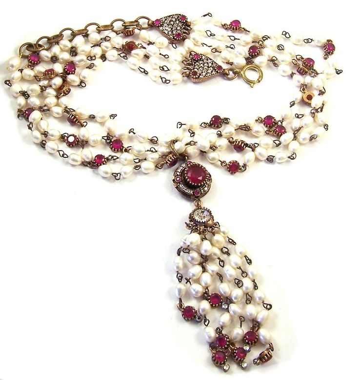 CHANEL France 1984 Simulated 4-Strand Baroque Pearls Ruby & Diamante Necklace #Chanel #Pendant
