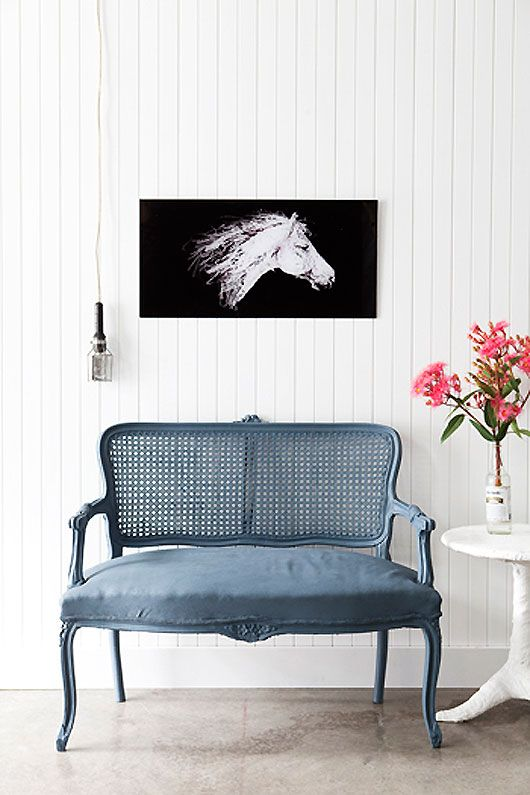 penny farthing design house: Design Houses, Pennies Farthing, Blue Couch, Farthing Design, Horses Paintings, Off Paintings, Hors Pics,  Day Beds, White Wall