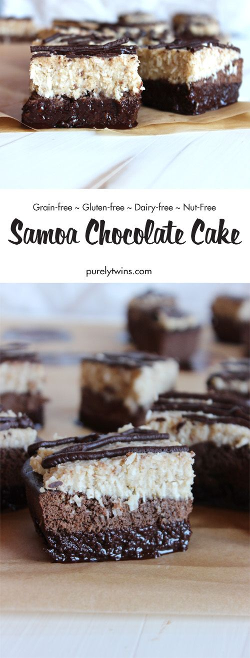 Sinfully and secretly healthy Girl Scout inspired Samoa chocolate gluten-free cake recipe that's super easy to make! Layers of rich chocolate plantain cake, topped with chewy coconut caramel, chocolate drizzle and dipped in more chocolate! Sure to please lovers of samoas everywhere. This cake is gluten-free, grain-free, dairy-free and nut-free.