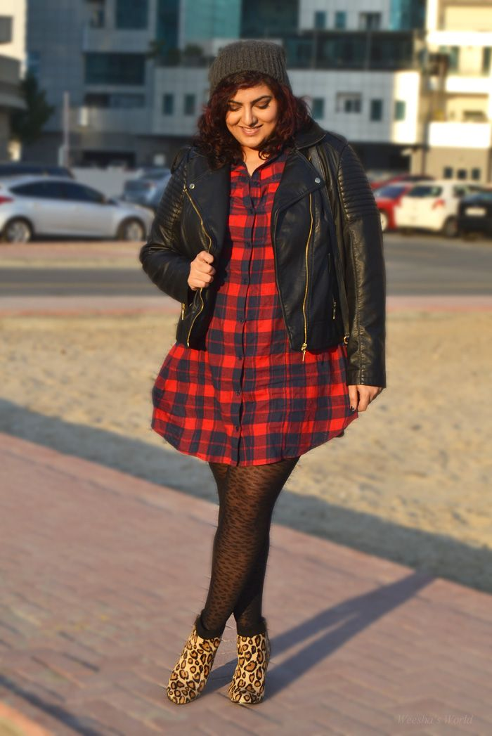 Asos Curve tartan shirtdress/ I love everything about this look