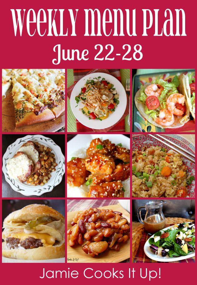Weekly Menu Plan: June 22-28 from Jamie Cooks It Up!
