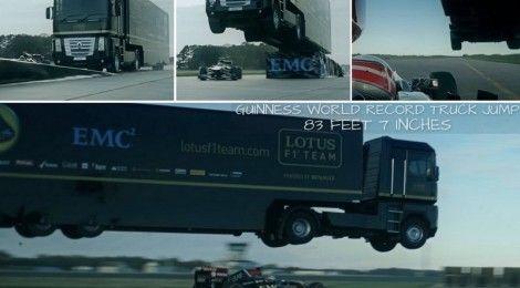 Giant truck jumps over speeding Formula 1 car