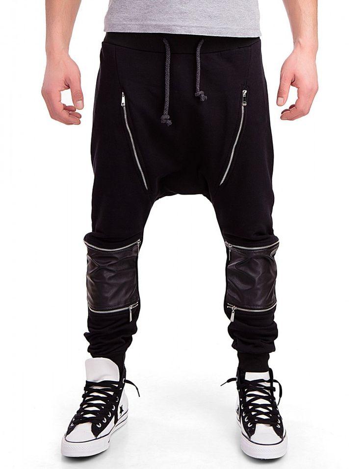 BS7 Herren Trainingshose Pumphose mit Zipper Freizeithose im Haremstil  Sporthose Jogginghose Fitnesshose Streetdance Tanzhose - 2873