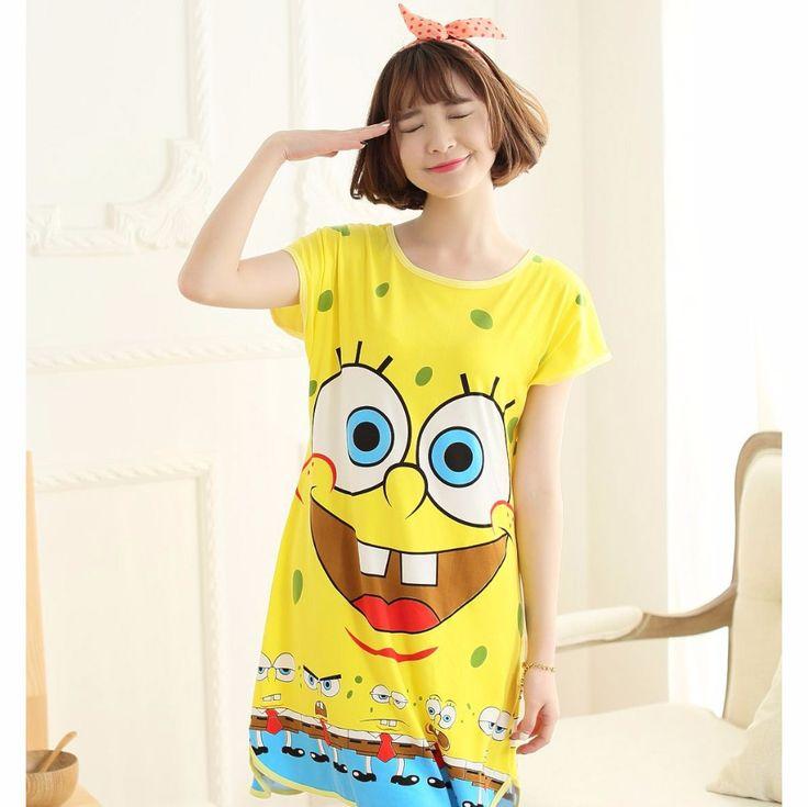 The new summer Short-Raglan-sleeved Cotton Cartoon Lingerie SpongeBob adult onesie Pajamas all in one Lingerie