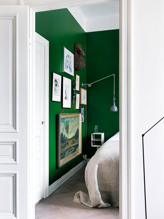 I actually HATE the green in all the houses I've looked at, except for these kelly green walls! It looks great with the contrast of the white woodwork