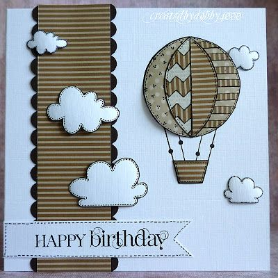 A Scrapjourney...luv the clouds and the paper pieced hot air balloon...looks great in kraft patterned papers!!!