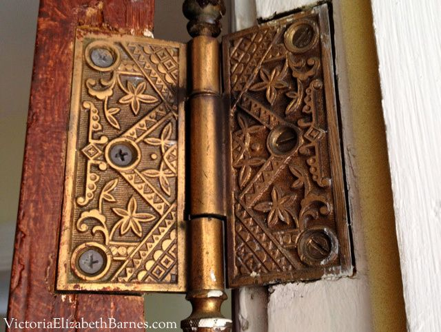 """I am loving this woman's blog about restoring a run-down Victorian! But let's stop for a minute and LOOK AT THESE HINGES on the front door!!! Can we all just take a moment to cry about the so-called """"march of progress"""" that means we have ranch-style houses and plain, boring hinges?"""