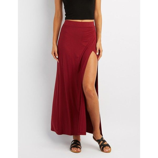 Charlotte Russe Wrap Slit Maxi Skirt ($12) ❤ liked on Polyvore featuring skirts, burgundy, burgundy maxi skirt, wrap maxi skirt, long slit skirt, long red skirt and hi low skirt