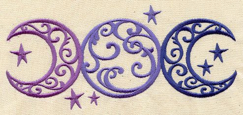 Triple Moon   Urban Threads: Unique and Awesome Embroidery Designs – Tattoo