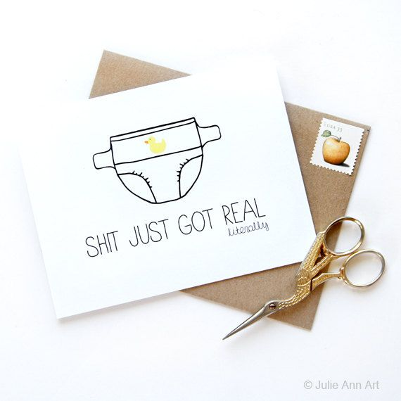 Funny New Baby Card  New Baby Announcement  by JulieAnnArt on Etsy, $4.50