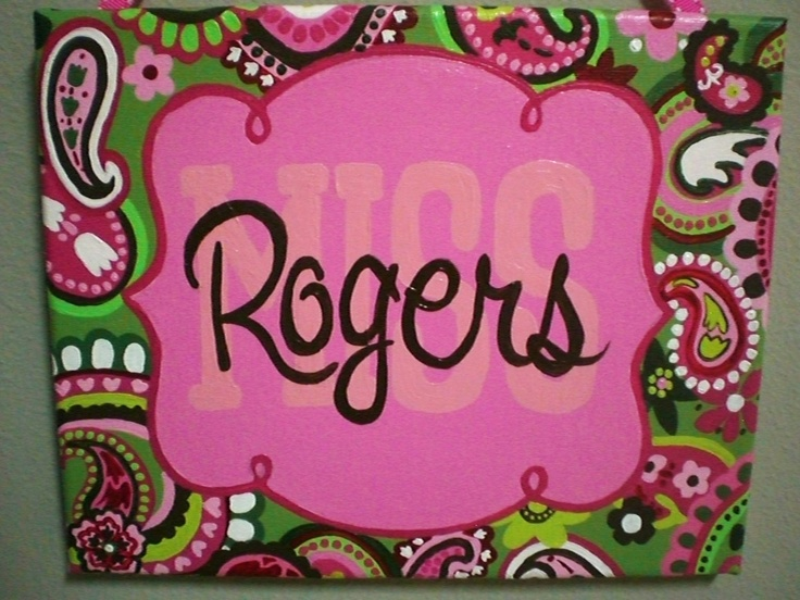 Pink, Green, and Brown Paisley Name Sign for teachers, nurseries, offices and more. $35.00, via Etsy.