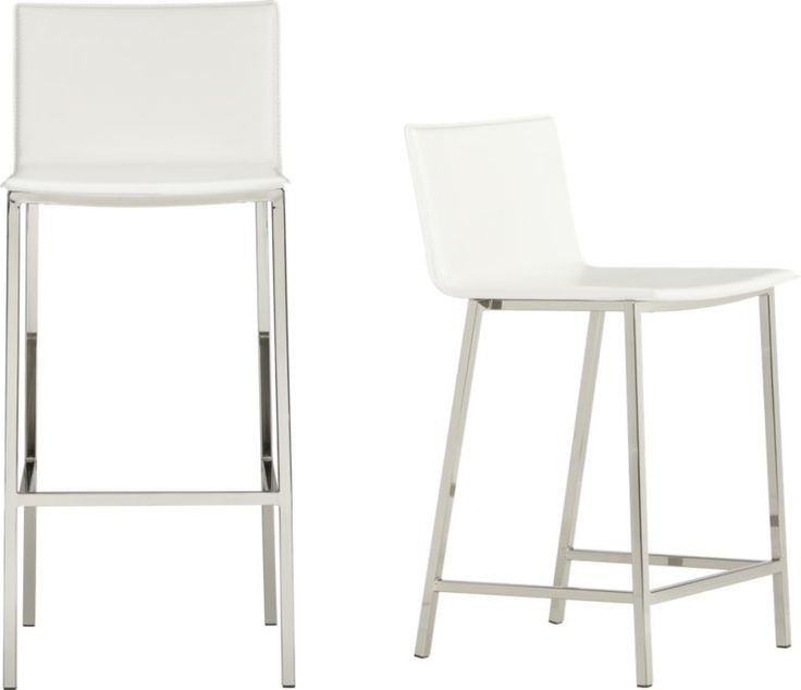 Lovely Ivory Leather Bar Stools