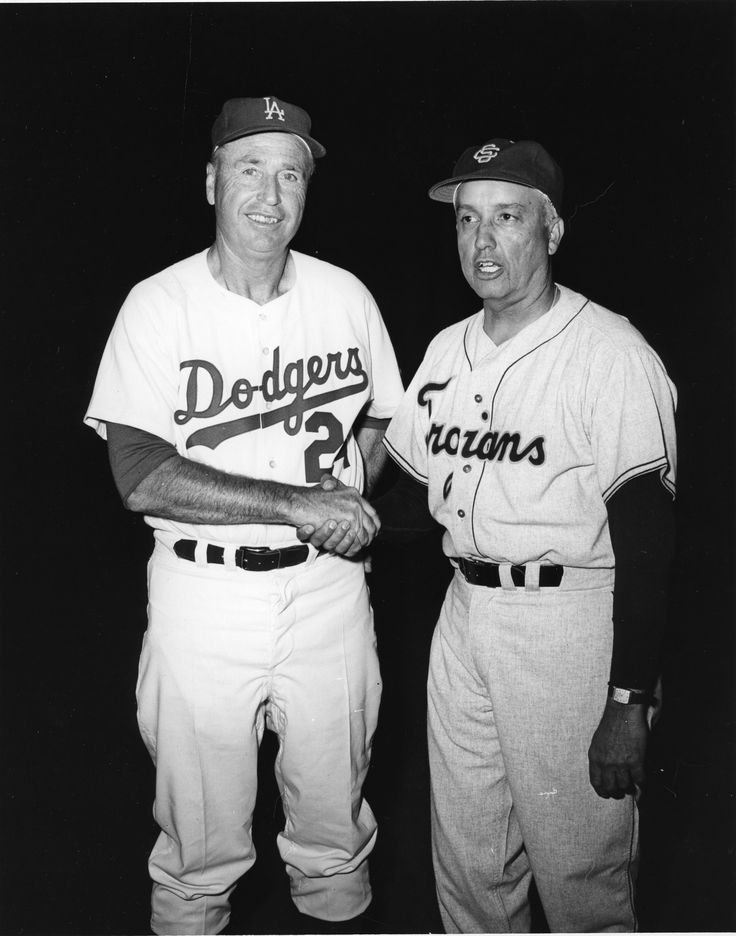 Dodgers Manager Walter Alston and USC baseball coach Rod Dedeaux