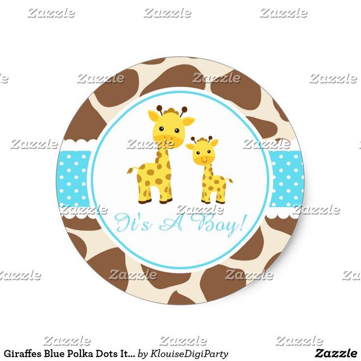 Giraffes Blue Polka Dots It's A Boy Classic Round Sticker
