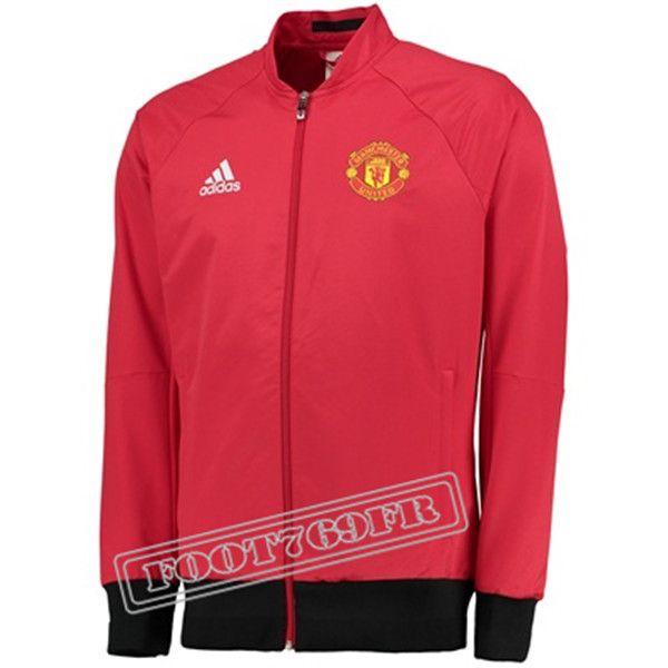 Nouveau: Veste Manchester United Rouge/Noir 2016 2017 | Veste Survetement - Foot769Fr