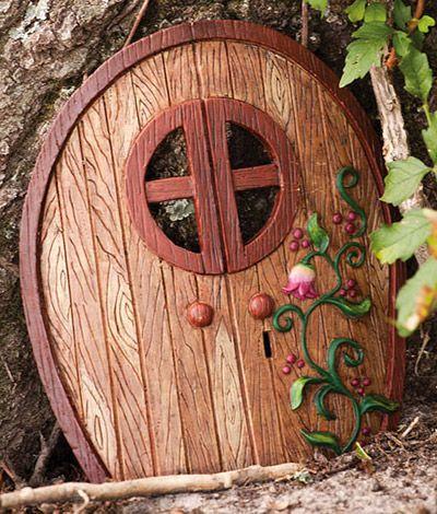 Cute fairy door for a garden.