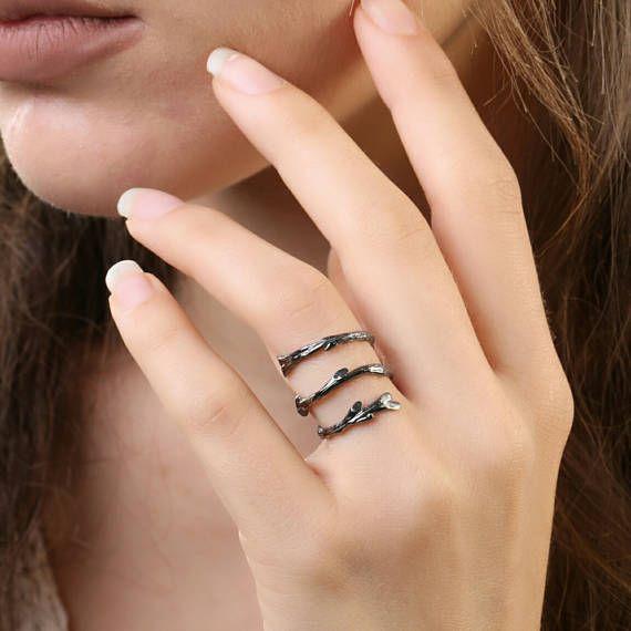 Κλαδί Αμπέλου δαχτυλίδι Βοτανικό κοσμήματα 925 silverNature