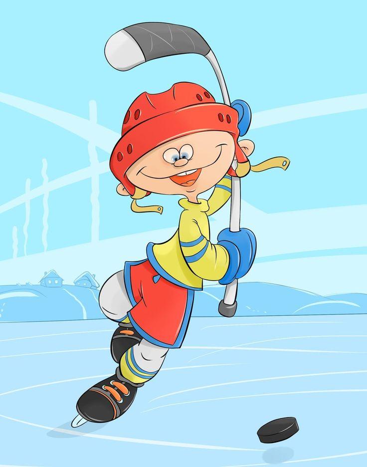мультяшный, весёлый, человек, смешной, хоккей, лед, ребёнок, шайба