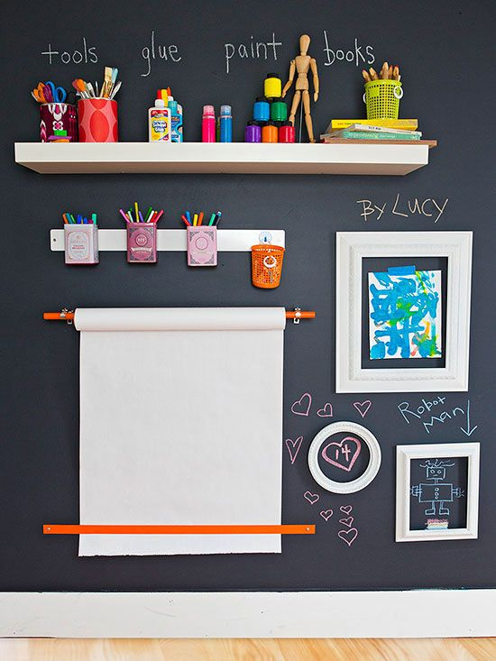 Dedicate a wall to drawing and displaying the kids' artwork! How fun :-)