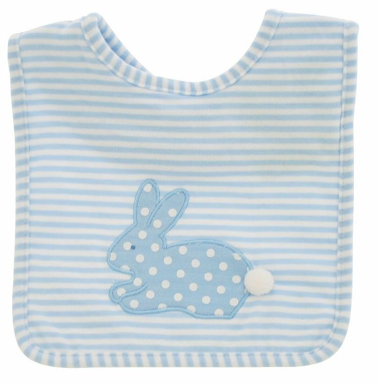 Alimrose Bib Bunny Appliqué Blue White Spot Stripe - Bunny Applique Bib Blue
