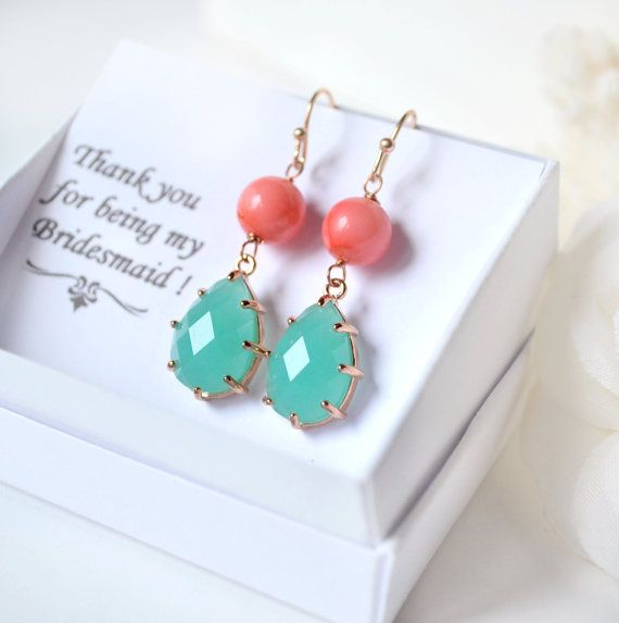 Coral mint earrings coral Mint bridesmaid by ArtemisBridalJewelry